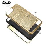 Caixa híbrida de pedra escovada do telefone de Bling da listra para a borda de Samsung S7