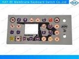 Controle do teclado da membrana do diodo emissor de luz com as teclas da borracha da resina