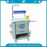 AG-Nt004b3 con la carretilla médica de cuatro columnas del Plástico-Acero para la venta
