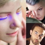 LED 지구를 가진 당 춤 채찍질을%s 소리 활성화되는 7개의 번쩍이는 최빈값 LED 속눈섭