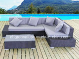 Rattan del PE & mobilia dell'alluminio, mobilia esterna del sofà d'angolo del rattan