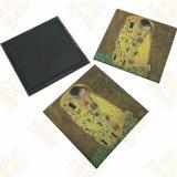 magnete del frigorifero di 80*80mm con stagno ed il documento di arte