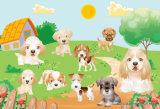Картина маслом собак напечатанная цифров для домашнего украшения