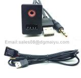 Gelijk zet USB Aux 3.5mm Lood van de Input van het Comité van de Adapter van de Hefboom van de Hoofdtelefoon op het Mannelijke Opzettende
