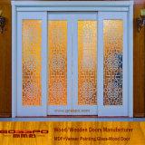 백색 페인트 목제 곡물 유리제 미닫이 문 (GSP3-034)