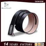 Schwarzes Schaltklinken-Riemen-Metallautomatischer Faltenbildung-echtes Leder-Mann-Riemen