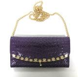 Shiny Emboss PU Wallet della nuova signora con la catena del metallo per la spalla