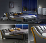 [إيوروبن] أسلوب غرفة نوم رماديّ جلد سرير [دووبل بد] ([هك315])