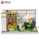 Mini mobília de madeira no brinquedo do quarto de estudo DIY