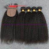 8A束が付いている絹の基礎閉鎖の絹の基礎閉鎖とまっすぐにねじれたインドのバージンの毛