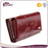 Carpeta de lujo china impresa flor del cuero genuino de los colores de Fani 4 para la novia