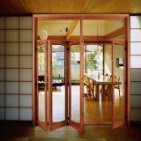 Portelli di fisarmonica di bambù scorrevoli poco costosi con il vetro dello specchio