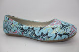 新しいデザイン刺繍の上部の女の子の柔らかく平らな靴のバレエシューズ