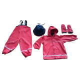 PU Red Solid Reflective Rainwear für Children/Baby