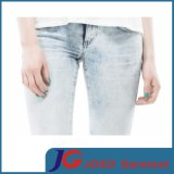 Jeans maigres de denim bleu-clair de dames (JC1390)