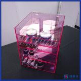 다이아몬드 손잡이를 가진 주문 분홍색 아크릴 장식용 메이크업 조직자