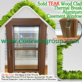 Ventana de madera de aluminio de la buena calidad, marco excelente Wood Ventana de aluminio con la maneta inestable plegable