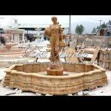 Fontana gialla femminile del travertino per la mobilia Mf-637 del giardino