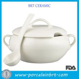 Tray를 가진 우아한 Yellow Cookware Ceramic Ladle Soup Tureen