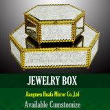 旧式なミラーの銀のガラス苦脳ボックスは宝石箱の箱を構成する