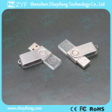 movimentação de cristal do flash do USB da torção do giro do metal do logotipo 3D (ZYF1524)