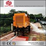 潅漑のために働く流出するか、または採鉱するトレーラーまたは洪水が付いているディーゼル機関によって運転される水ポンプ