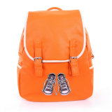 Frauen-echtes Leder-Rucksack-Rindleder-Form-Schultaschen-Schule-Beutel
