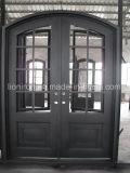 Augenbraue-Bogen-bearbeitetes Eisen-Tür + Sidelites+ Querbalken-Eintrag-Haustüren