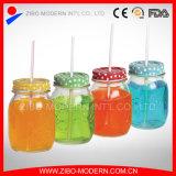 Vasi di muratore di vetro all'ingrosso 16oz con il coperchio della paglia con il foro