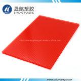 feuille de toiture de polycarbonate de Jumeau-Mur de couleur d'orange de 6mm