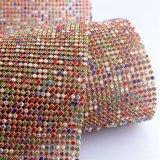 acoplamiento colorido con base metálica del Rhinestone del oro de los 45*120cm para los accesorios de la ropa