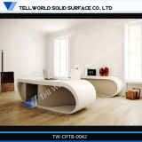 Office Workstation White Table Surface with Wood Gabinete Executive Office Desk (TW-OFTB-0041)