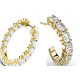 형식 보석 다이아몬드를 가진 925의 은 굴렁쇠 귀걸이