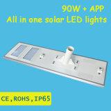 luz de calle solar integrada de 90W LED con el APP