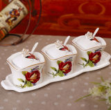 Hermoso tarro de cerámica jarra de especias de porcelana para la cocina