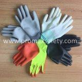 Oranje Polyester Gebreide Handschoenen met het Witte Onderdompelen van Pu
