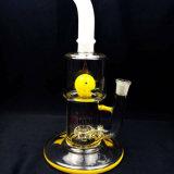 Tubulação de água de fumo de vidro do Percolator branco novo do pato do amarelo do jade