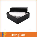 Caja de embalaje de la insignia del negro del regalo de encargo de la cartulina/rectángulo de papel