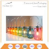 Velas de cristal del tarro de masón con la maneta