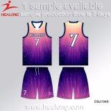 Healong最新のデザインスポーツ・ウェアの昇華ベストの首のバスケットボールジャージー