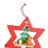 주식에 있는 곰과 소형 나무 디자인을%s 가진 나무로 되는 크리스마스 나무 장신구