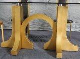現代金ガラスダイニングテーブル