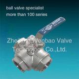 Métèque 1000 de robinet à tournant sphérique de manière de l'acier inoxydable 3 Dn50