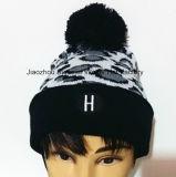ヒョウの穀物によって編まれた帽子は編まれた帽子の冬の帽子の帽子の帽子を刺繍した