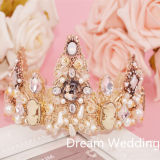 Luxo Pearl Crystal Alloy Wedding Prom Tiaras Crown Plus Free Earbobs