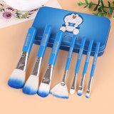 jogo de escova 7PCS cosmético com a caixa azul bonito da caixa do metal de Doraemon