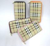 De Portefeuille van de Ritssluiting van de Stijl van het Patroon van het Geruite Schotse wollen stof van het Leer van Pu voor Dame