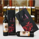 Saco de empacotamento de papel de presente de vinho de compras para garrafa única