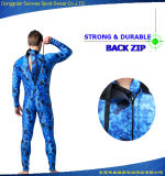Wetsuit mimético de Spearfishing Freediving del camuflaje superior azul del neopreno