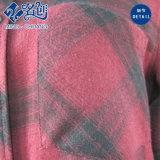 Maglietta lunga del plaid del tasto del manicotto di autunno lungo rosso di modo